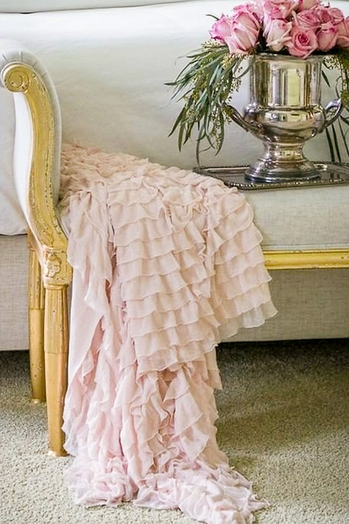 Pale Pink Ruffle Throw