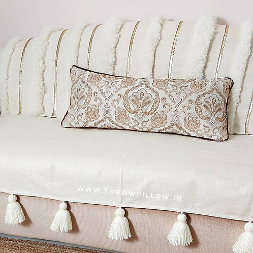 Morroccan Tufted Tassel Couch Cover Set- Off-White
