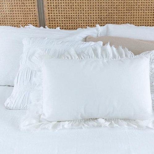 White Ruffled Rectangular Cushion Cover