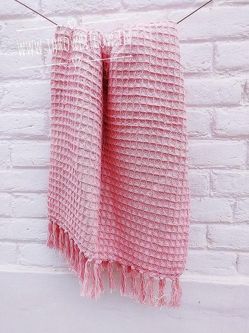 Pink Flamingo Waffle Throw