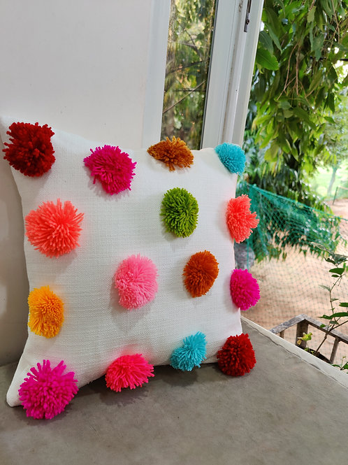 Big Pom Pom Multicolored Boho Cushion