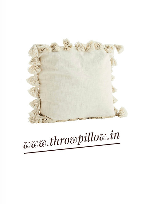 Neutral All Round Fine Tassels Cushion Cover