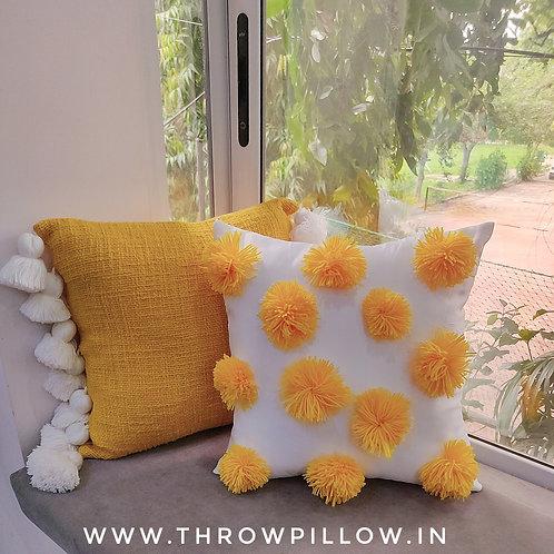 Yellow Pom Pom Cushion Cover