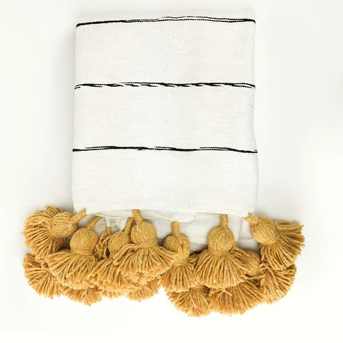 Striped Cotton Throw with Mustard Tassels