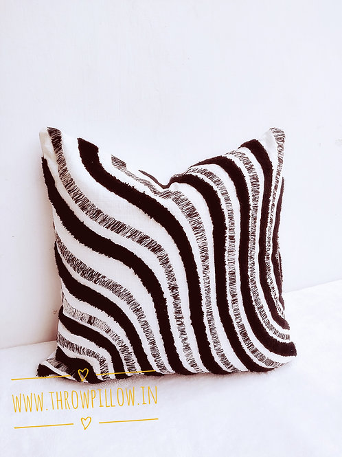 Black & White Tuft Pattern Cushion Cover-20 inches