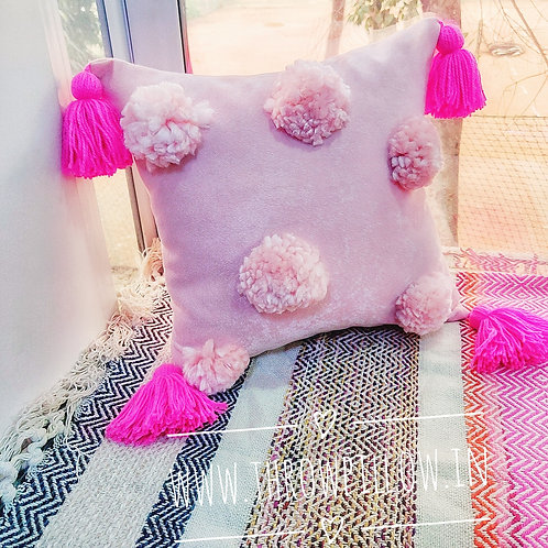 Blush Pink Big Pom Pom Cushion Cover