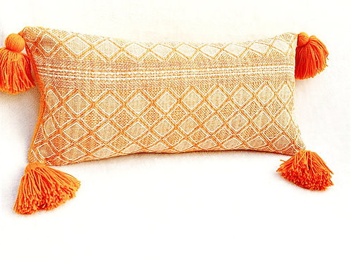 Honey Threadwork Tassel Cushion cover