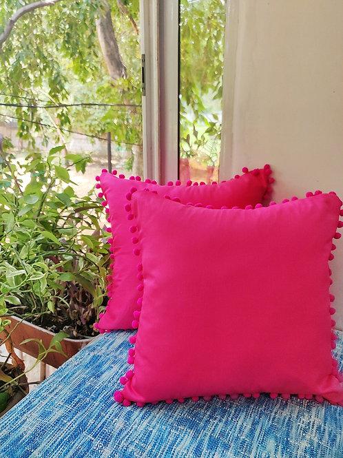 Fuschia Pink Pom Pom Cushion Cover