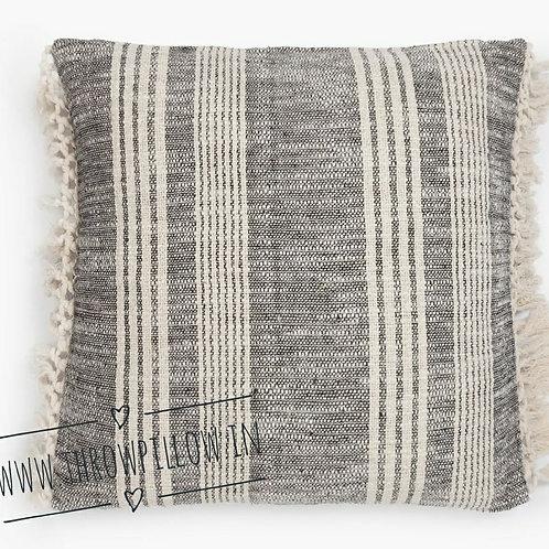 Black Cream Stripes Farmhouse Cushion