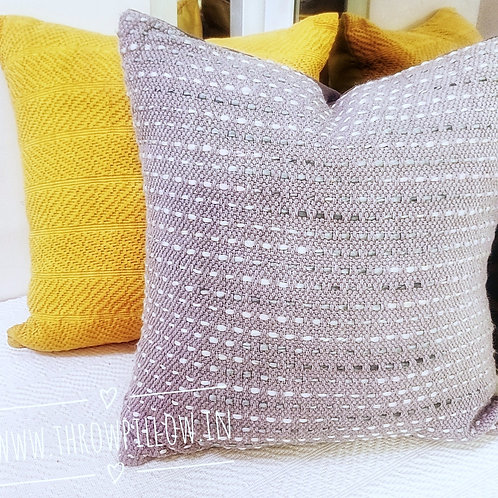 Grey Knit Textured Pillow