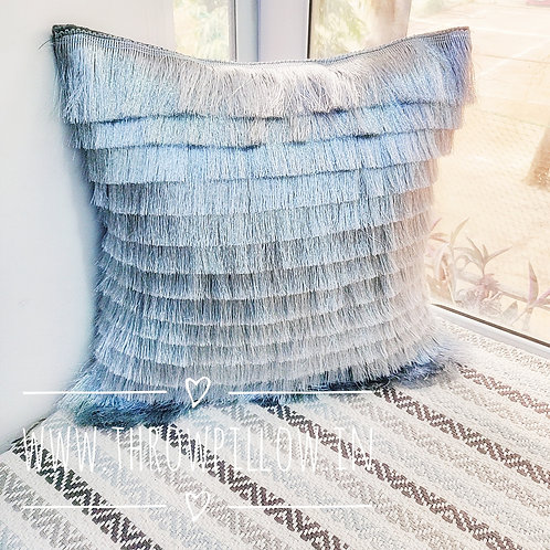Grey Fringe Layers Throwpillow