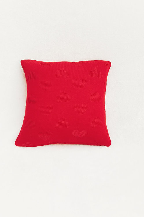Red Heart Embossed Knitted Cushion Cover