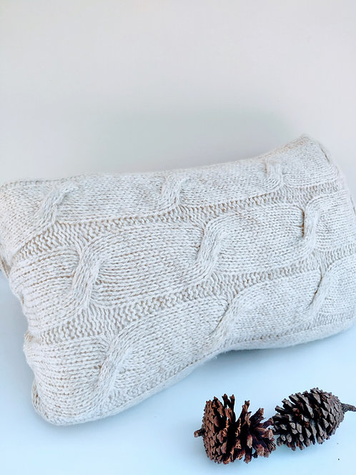 Off White Winter Close Knit Rectangular Cushion Cover