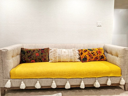 Yellow Textured Cotton Throw/Couch Couch Cover