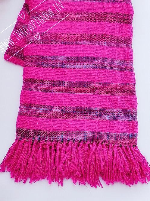 Fuchsia Basket weave Throw