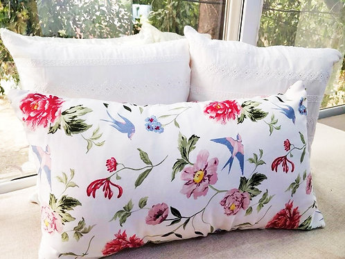 White Floral Rectangular Cushion Cover-12x18 inches