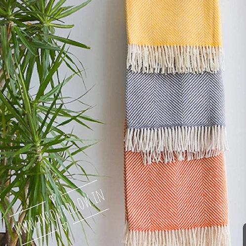 Bright Yellow Merino Wool Throw