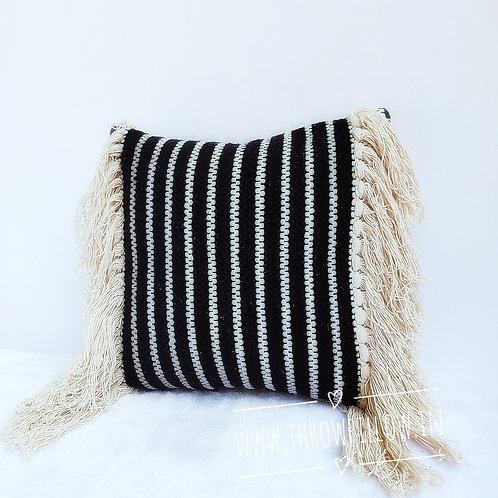 Boho Black Fringe Pillow