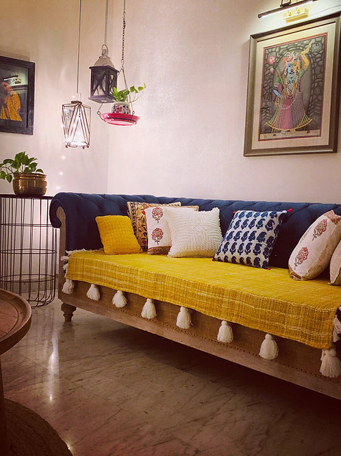 Mustard Yellow- Textured Cotton Throw/Couch Cover