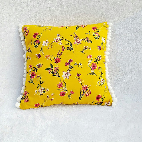 Yellow Floral Pom Pom Cushion Cover