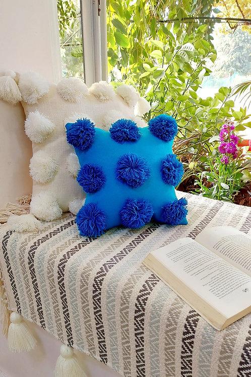 Blue Pom Pom Square Cushion Cover