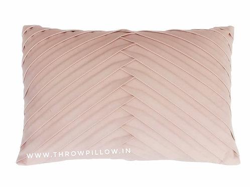Peach Pleated Lumbar Cushion Cover
