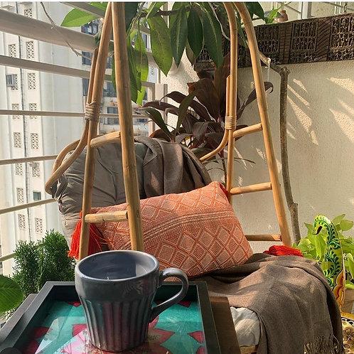 Orange Threadwork Rectangular Cushion -12x18 inches