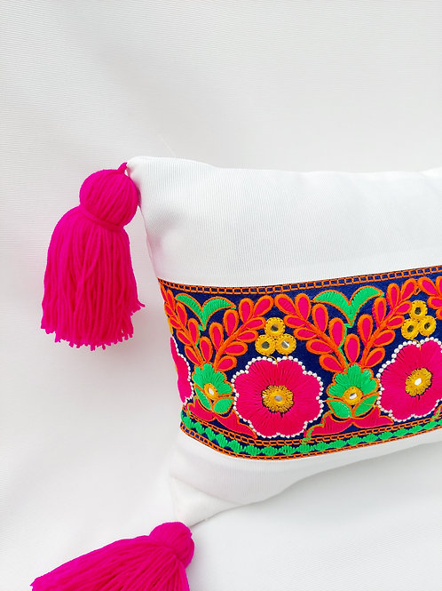 Multicolored Embroidered BOHO Rectangular Cushion