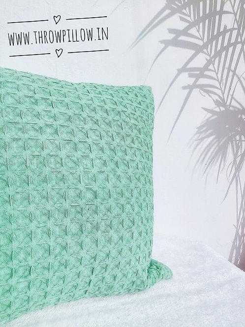 Green Waffle Thread work Cushion Cover