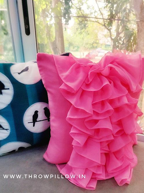 Pink Waterfall Ruffles Cushion Cover