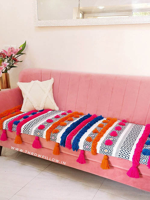 Bohemian Tufted Multicoloured Tassel Couch Cover