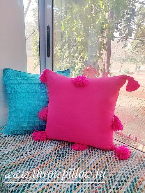 Fuchsia Pink All Round Tassels Cushion