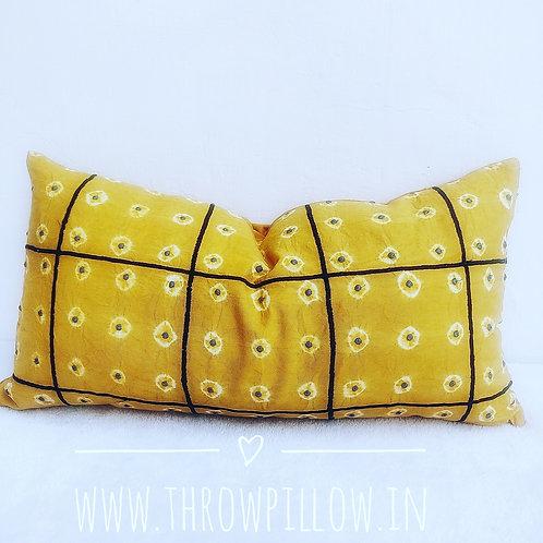 Yellow Mustard Shibori Rectangular Cushion