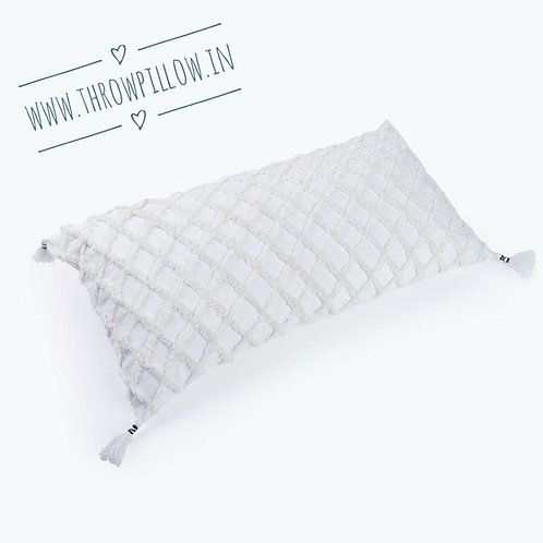 White Moroccon Inspired Embroidered Rectangular Cushion Cover
