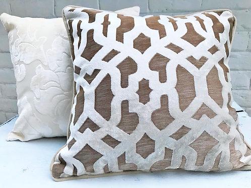 Beige Self Pattern Velvet Throw Pillow