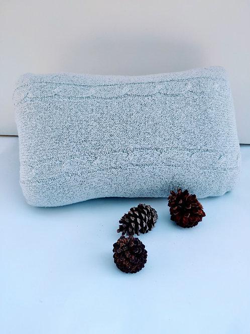Grey Winter Close Knit Pillow