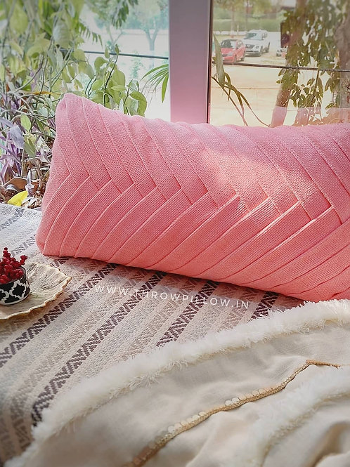Blush Criss Cross Pleated Cushion Cover