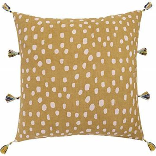 Olive Cushion Cover with Pale Pink dots and tassels