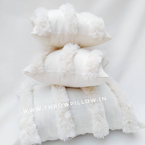 Luxe Moroccan Off White Tufted Cushion Cover