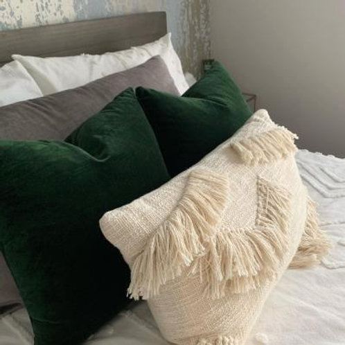 Neutral Bushy Tufted Cushion Cover