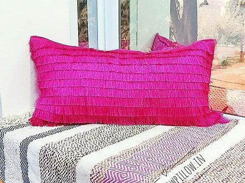 Fuchsia Fringe Layers Rectangular Cushion