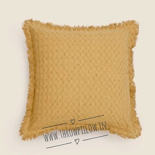 Mustard Self Pattern Cushion Cover
