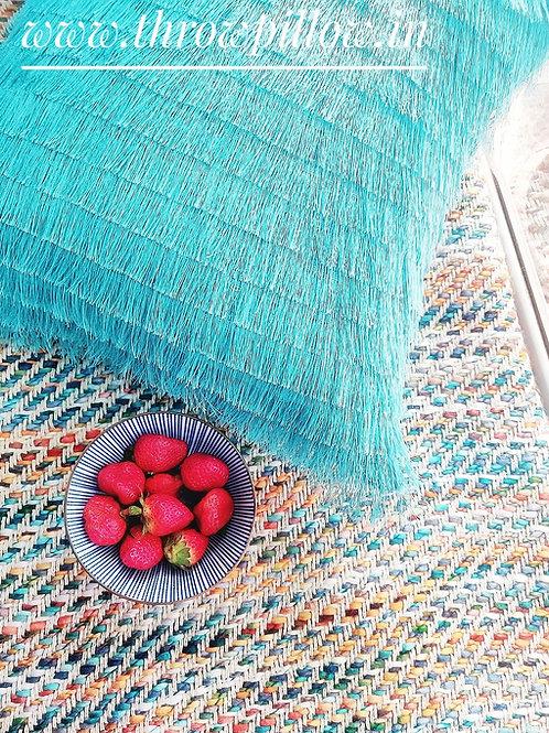 Turquoise Layered Fringe Cushions