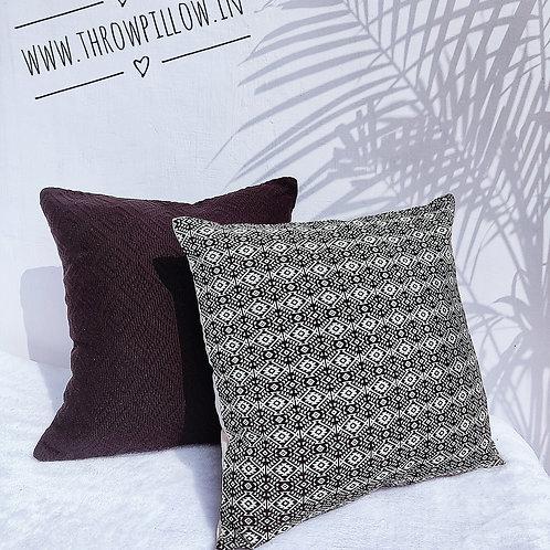 Black White Threadwork Cushion