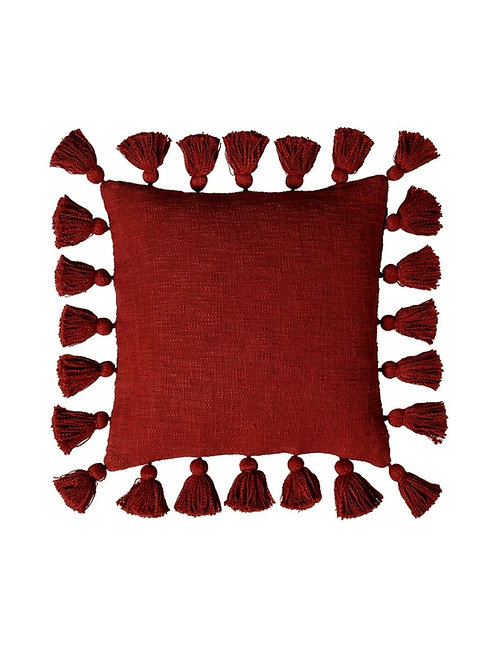 Red All Round Tassel Cushion Cover