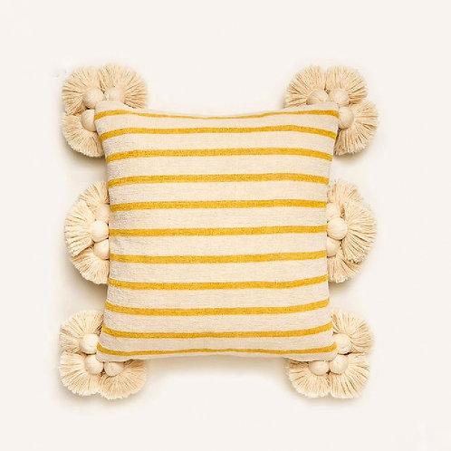 Yellow Stripes Tassel Cushion Cover