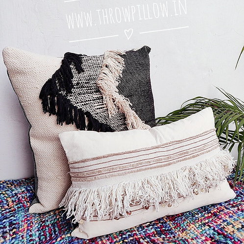 Off white Moroccan Embroidered Rectangular Cushion-12x18 inches