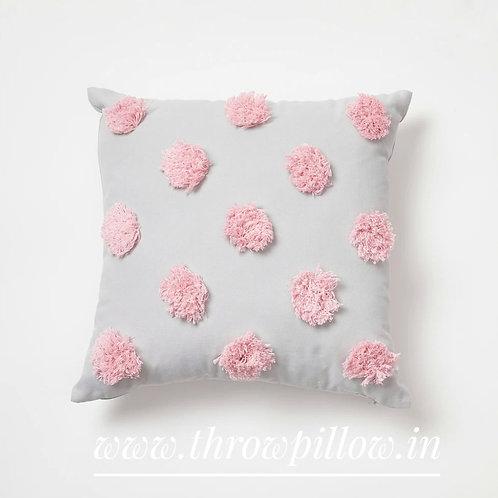 Pom Pom Grey & Pink Cushion Cover