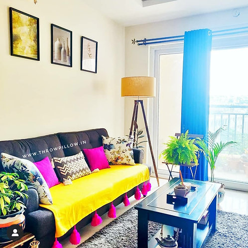 Yellow Throw/Couch Cover With Fuchsia tassels