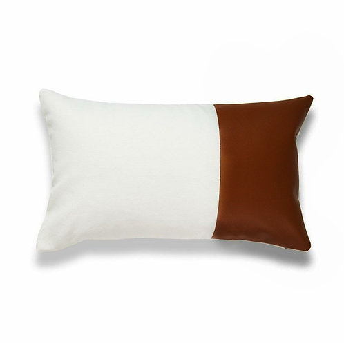Faux Leather Half & Half Brown Cushion Cover